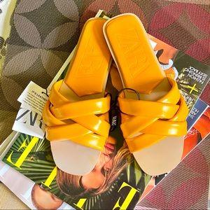 Zara Leather Slide Sandals
